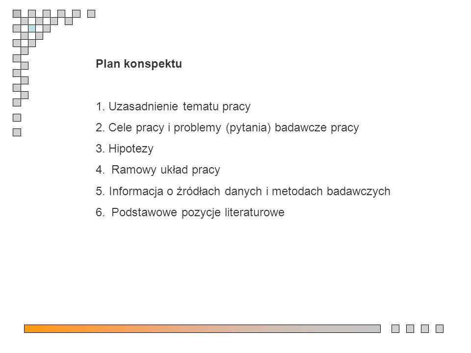 Plan konspektu 1. Uzasadnienie tematu pracy 2. Cele pracy i problemy (pytania) badawcze pracy 3.
