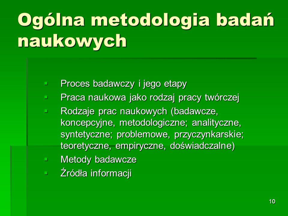 10 Ogólna metodologia badań naukowych  Proces badawczy i jego etapy  Praca naukowa jako rodzaj pracy twórczej  Rodzaje prac naukowych (badawcze, koncepcyjne, metodologiczne; analityczne, syntetyczne; problemowe, przyczynkarskie; teoretyczne, empiryczne, doświadczalne)  Metody badawcze  Źródła informacji