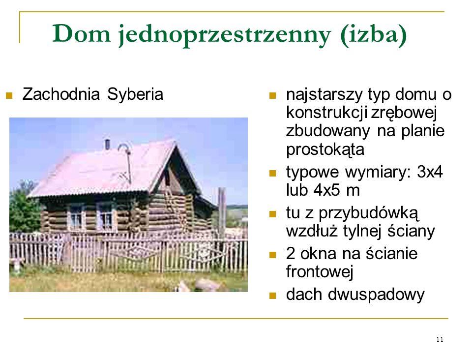 11 Dom jednoprzestrzenny (izba) Zachodnia Syberia najstarszy typ domu o konstrukcji zrębowej zbudowany na planie prostokąta typowe wymiary: 3x4 lub 4x5 m tu z przybudówką wzdłuż tylnej ściany 2 okna na ścianie frontowej dach dwuspadowy
