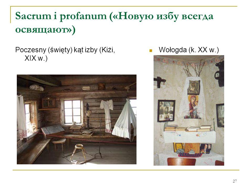 27 Sacrum i profanum («Новую избу всегда освящают») Poczesny (święty) kąt izby (Kiżi, XIX w.) Wołogda (k. XX w.)