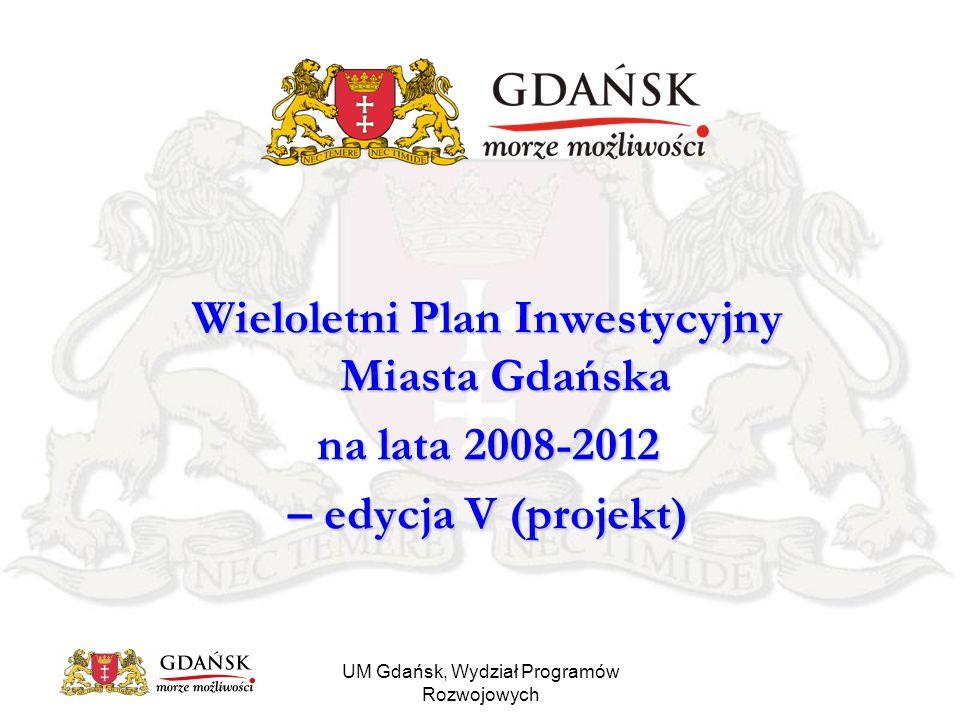 UM Gdańsk, Wydział Programów Rozwojowych Porównanie kosztów zadań w latach planu (w mln zł)
