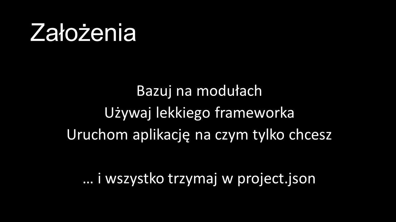Założenia Bazuj na modułach Używaj lekkiego frameworka Uruchom aplikację na czym tylko chcesz … i wszystko trzymaj w project.json