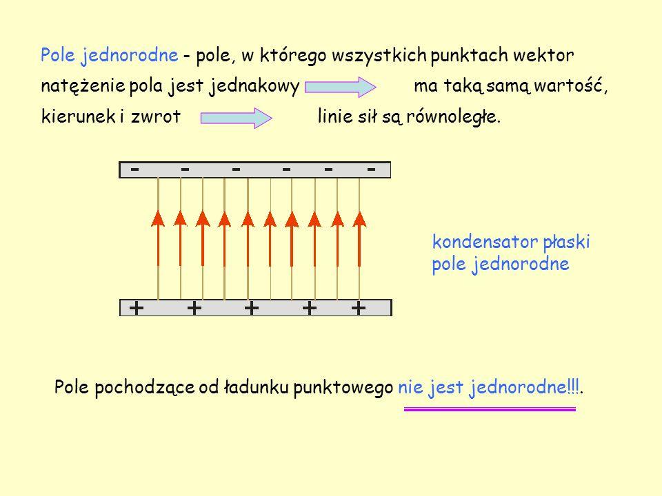 Pole jednorodne - pole, w którego wszystkich punktach wektor natężenie pola jest jednakowy ma taką samą wartość, kierunek i zwrot linie sił są równoległe.