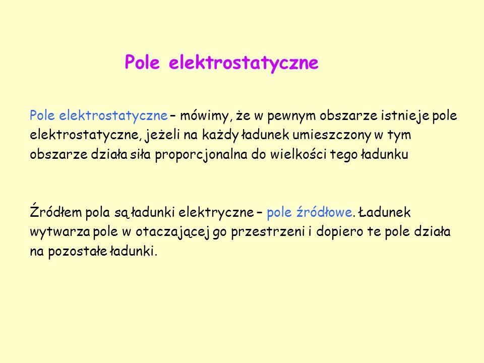Pole elektrostatyczne – mówimy, że w pewnym obszarze istnieje pole elektrostatyczne, jeżeli na każdy ładunek umieszczony w tym obszarze działa siła pr