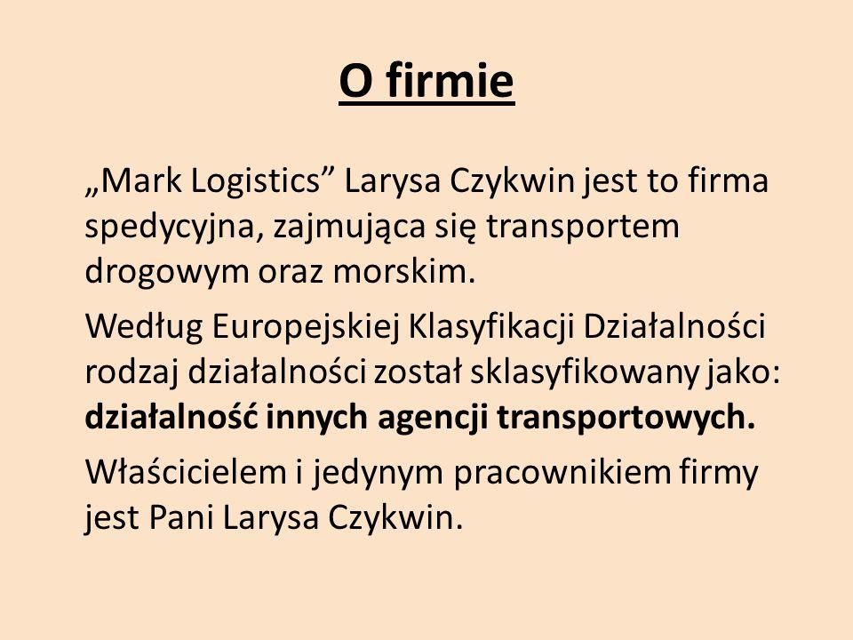 """O firmie """"Mark Logistics Larysa Czykwin jest to firma spedycyjna, zajmująca się transportem drogowym oraz morskim."""