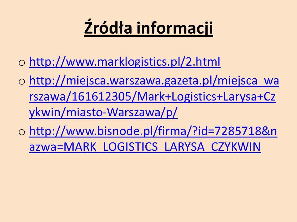 Źródła informacji o http://www.marklogistics.pl/2.html http://www.marklogistics.pl/2.html o http://miejsca.warszawa.gazeta.pl/miejsca_wa rszawa/161612305/Mark+Logistics+Larysa+Cz ykwin/miasto-Warszawa/p/ http://miejsca.warszawa.gazeta.pl/miejsca_wa rszawa/161612305/Mark+Logistics+Larysa+Cz ykwin/miasto-Warszawa/p/ o http://www.bisnode.pl/firma/ id=7285718&n azwa=MARK_LOGISTICS_LARYSA_CZYKWIN http://www.bisnode.pl/firma/ id=7285718&n azwa=MARK_LOGISTICS_LARYSA_CZYKWIN