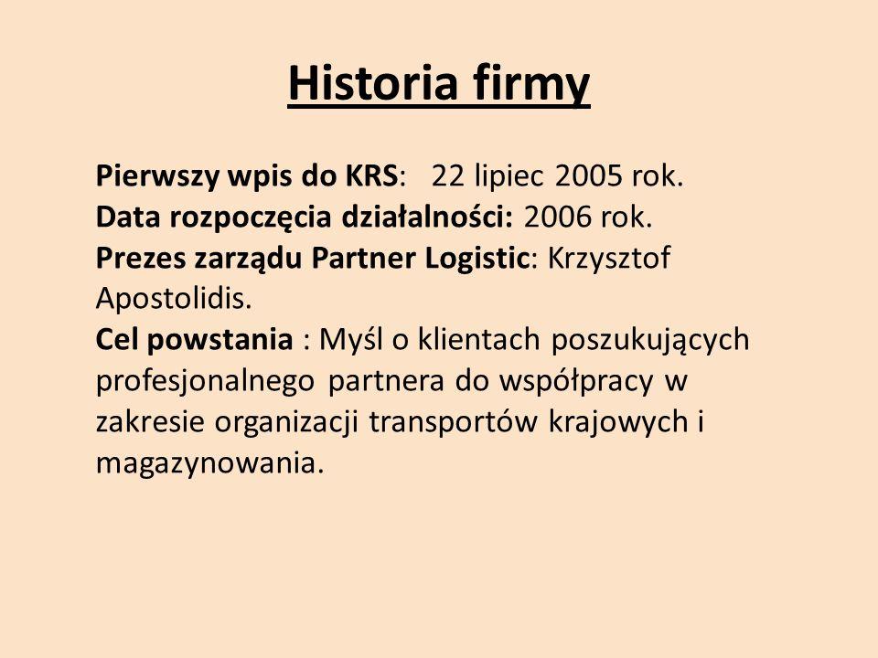Historia firmy Pierwszy wpis do KRS: 22 lipiec 2005 rok.