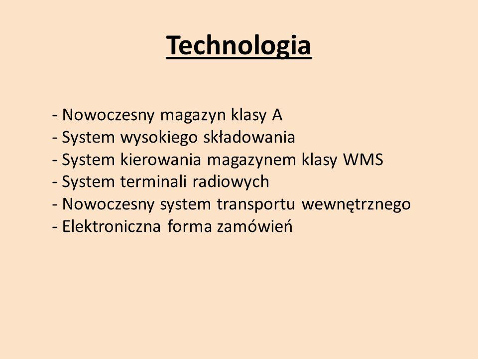 Technologia - Nowoczesny magazyn klasy A - System wysokiego składowania - System kierowania magazynem klasy WMS - System terminali radiowych - Nowoczesny system transportu wewnętrznego - Elektroniczna forma zamówień