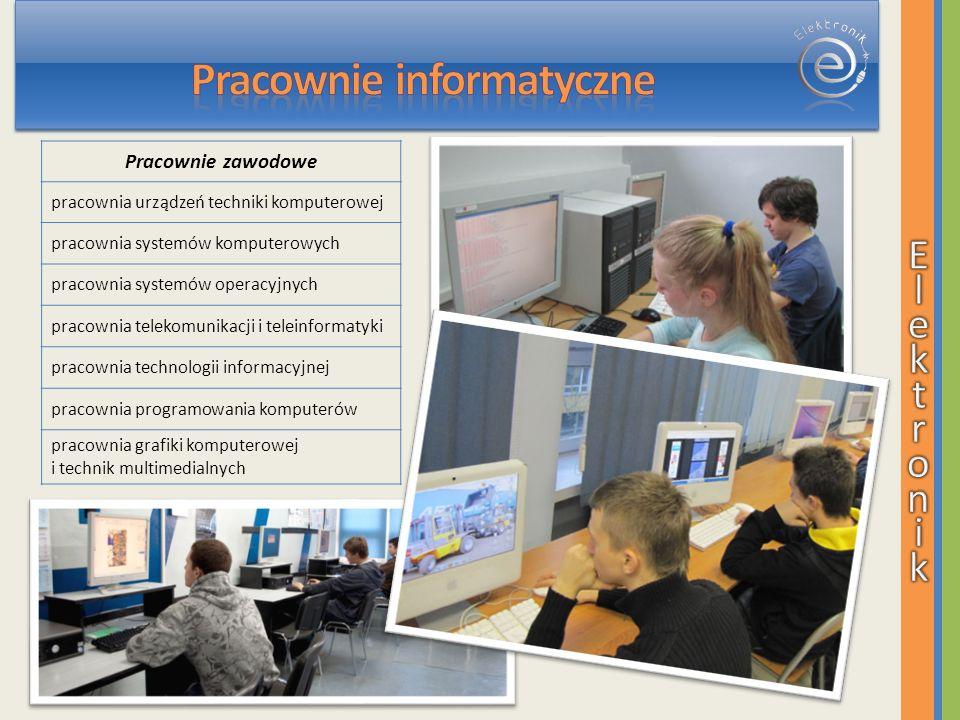 Pracownie zawodowe pracownia urządzeń techniki komputerowej pracownia systemów komputerowych pracownia systemów operacyjnych pracownia telekomunikacji i teleinformatyki pracownia technologii informacyjnej pracownia programowania komputerów pracownia grafiki komputerowej i technik multimedialnych