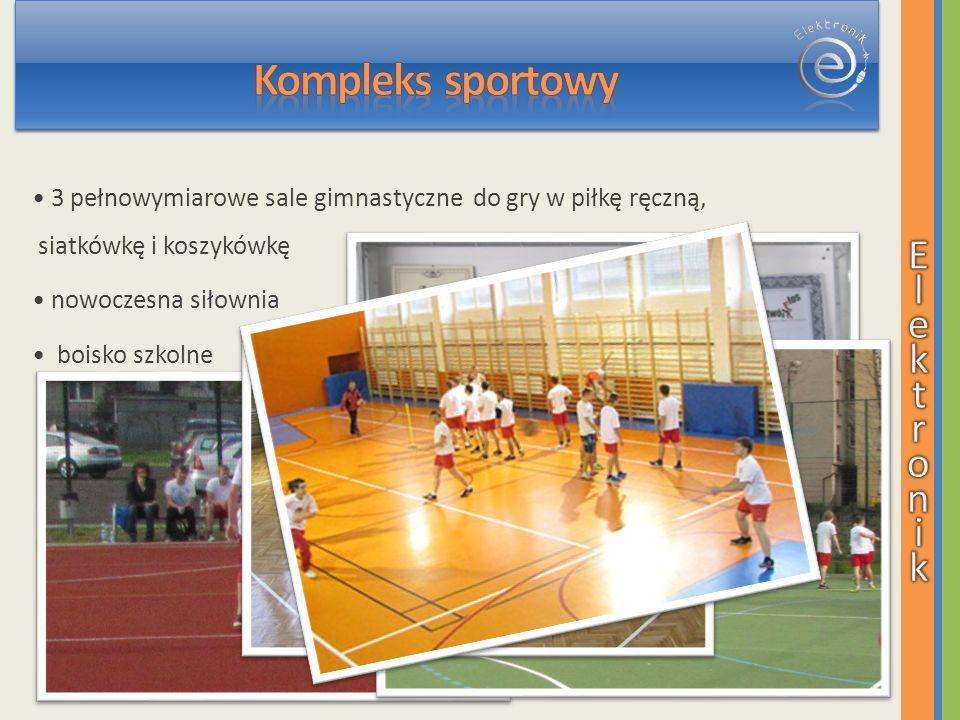 3 pełnowymiarowe sale gimnastyczne do gry w piłkę ręczną, siatkówkę i koszykówkę nowoczesna siłownia boisko szkolne