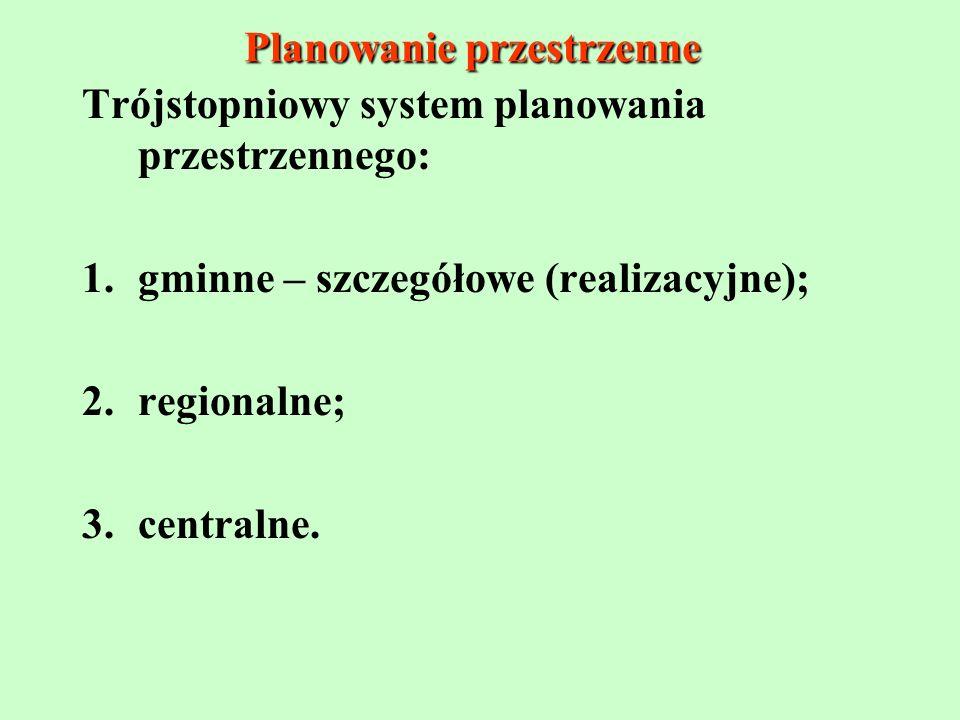 Planowanie przestrzenne Trójstopniowy system planowania przestrzennego: 1.gminne – szczegółowe (realizacyjne); 2.regionalne; 3.centralne.