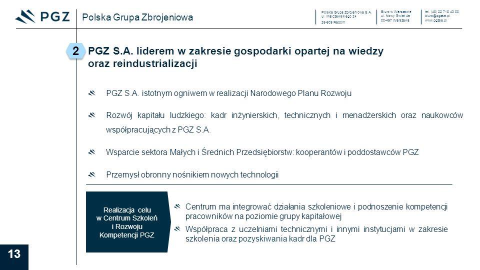 Polska Grupa Zbrojeniowa S.A. ul. Malczewskiego 24 26-609 Radom Biuro w Warszawie ul.