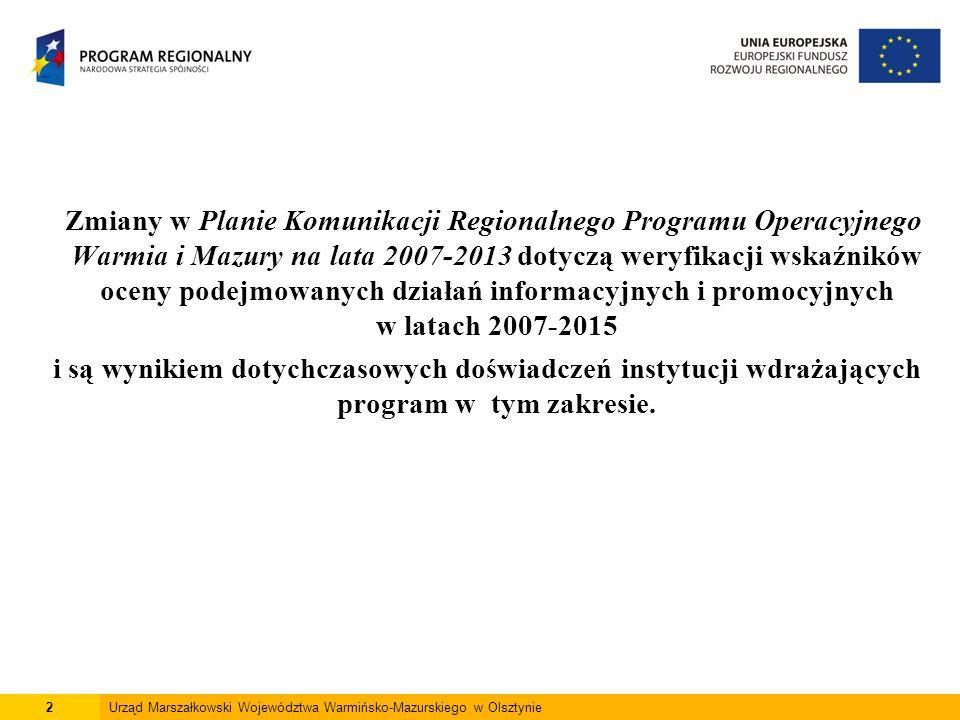2 Zmiany w Planie Komunikacji Regionalnego Programu Operacyjnego Warmia i Mazury na lata 2007-2013 dotyczą weryfikacji wskaźników oceny podejmowanych działań informacyjnych i promocyjnych w latach 2007-2015 i są wynikiem dotychczasowych doświadczeń instytucji wdrażających program w tym zakresie.