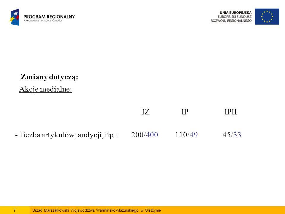 7Urząd Marszałkowski Województwa Warmińsko-Mazurskiego w Olsztynie Zmiany dotyczą: Akcje medialne: IZ IP IPII -liczba artykułów, audycji, itp.: 200/400 110/49 45/33