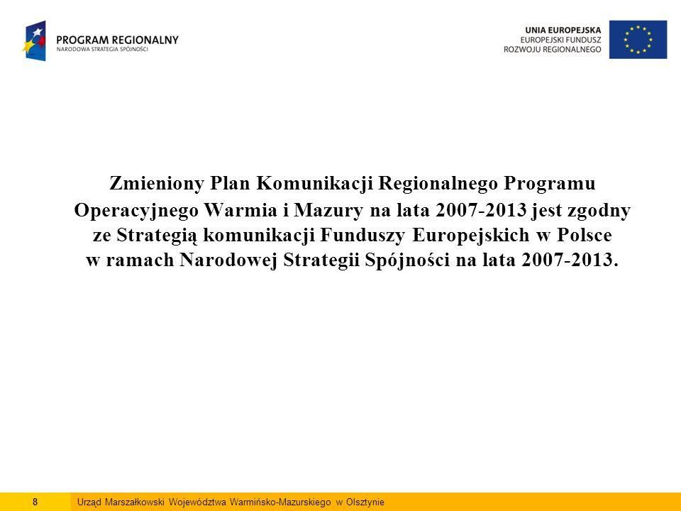 8Urząd Marszałkowski Województwa Warmińsko-Mazurskiego w Olsztynie Zmieniony Plan Komunikacji Regionalnego Programu Operacyjnego Warmia i Mazury na lata 2007-2013 jest zgodny ze Strategią komunikacji Funduszy Europejskich w Polsce w ramach Narodowej Strategii Spójności na lata 2007-2013.