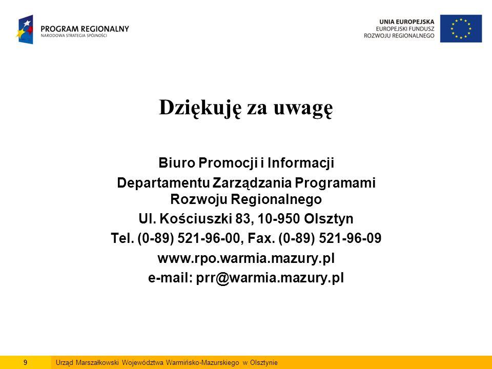 Dziękuję za uwagę Biuro Promocji i Informacji Departamentu Zarządzania Programami Rozwoju Regionalnego Ul.