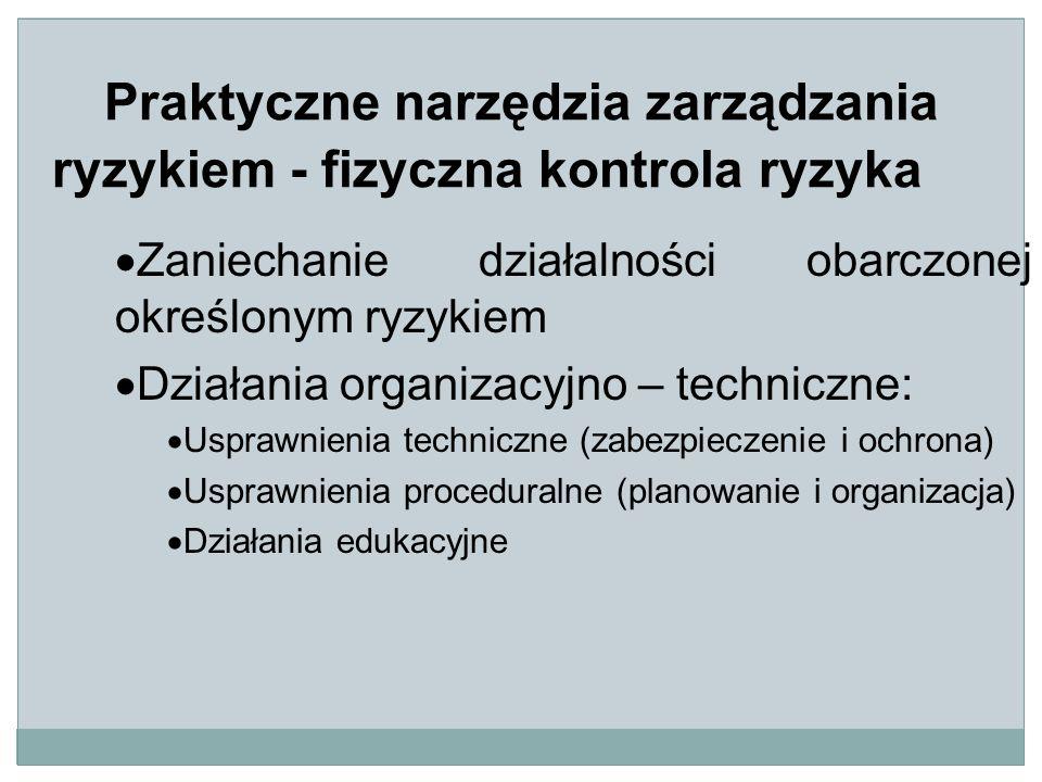 Praktyczne narzędzia zarządzania ryzykiem - fizyczna kontrola ryzyka  Zaniechanie działalności obarczonej określonym ryzykiem  Działania organizacyjno – techniczne:  Usprawnienia techniczne (zabezpieczenie i ochrona)  Usprawnienia proceduralne (planowanie i organizacja)  Działania edukacyjne