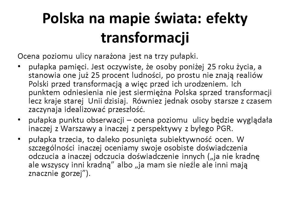 Polska na mapie świata: efekty transformacji Ocena poziomu ulicy narażona jest na trzy pułapki. pułapka pamięci. Jest oczywiste, że osoby poniżej 25 r