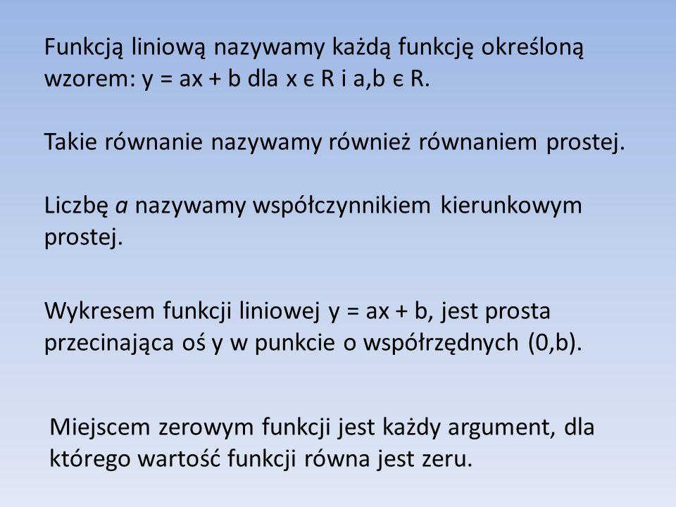 Funkcją liniową nazywamy każdą funkcję określoną wzorem: y = ax + b dla x є R i a,b є R.