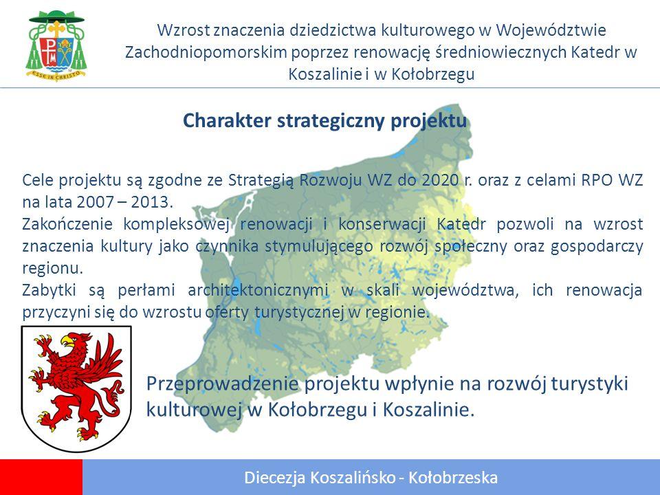 11 Diecezja Koszalińsko - Kołobrzeska Wzrost znaczenia dziedzictwa kulturowego w Województwie Zachodniopomorskim poprzez renowację średniowiecznych Katedr w Koszalinie i w Kołobrzegu Charakter strategiczny projektu Cele projektu są zgodne ze Strategią Rozwoju WZ do 2020 r.