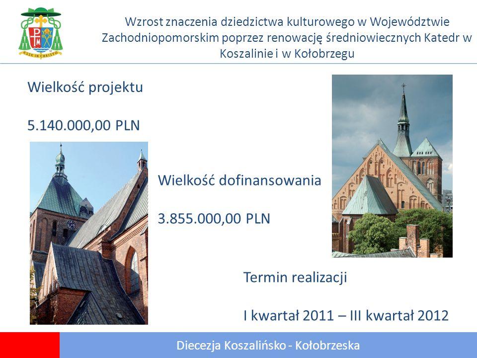 Diecezja Koszalińsko - Kołobrzeska Wzrost znaczenia dziedzictwa kulturowego w Województwie Zachodniopomorskim poprzez renowację średniowiecznych Katedr w Koszalinie i w Kołobrzegu Wielkość projektu 5.140.000,00 PLN Termin realizacji I kwartał 2011 – III kwartał 2012 Wielkość dofinansowania 3.855.000,00 PLN