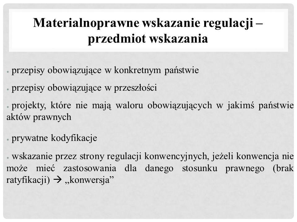 Materialnoprawne wskazanie regulacji – przedmiot wskazania ● przepisy obowiązujące w konkretnym państwie ● przepisy obowiązujące w przeszłości ● proje