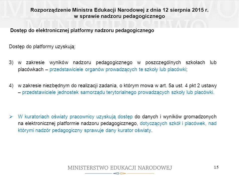 Rozporządzenie Ministra Edukacji Narodowej z dnia 12 sierpnia 2015 r. w sprawie nadzoru pedagogicznego 15 Dostęp do elektronicznej platformy nadzoru p