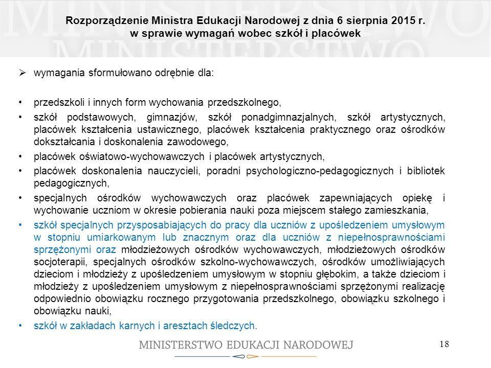 Rozporządzenie Ministra Edukacji Narodowej z dnia 6 sierpnia 2015 r. w sprawie wymagań wobec szkół i placówek 18  wymagania sformułowano odrębnie dla