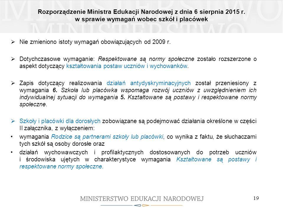 Rozporządzenie Ministra Edukacji Narodowej z dnia 6 sierpnia 2015 r. w sprawie wymagań wobec szkół i placówek 19  Nie zmieniono istoty wymagań obowią