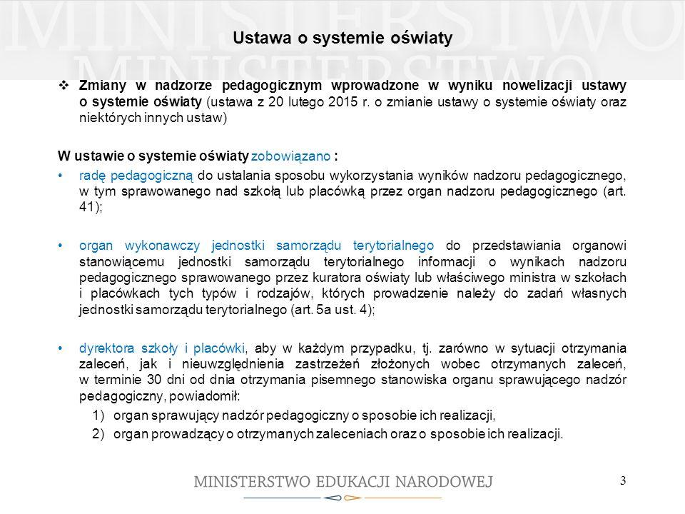 Ustawa o systemie oświaty 3  Zmiany w nadzorze pedagogicznym wprowadzone w wyniku nowelizacji ustawy o systemie oświaty (ustawa z 20 lutego 2015 r. o