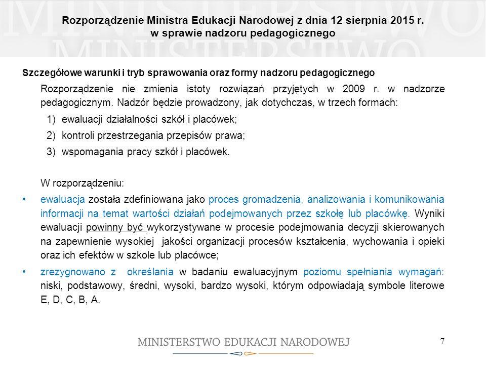 Rozporządzenie Ministra Edukacji Narodowej z dnia 12 sierpnia 2015 r. w sprawie nadzoru pedagogicznego 7 Szczegółowe warunki i tryb sprawowania oraz f