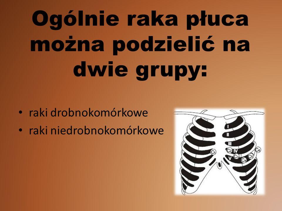 Ogólnie raka płuca można podzielić na dwie grupy: raki drobnokomórkowe raki niedrobnokomórkowe