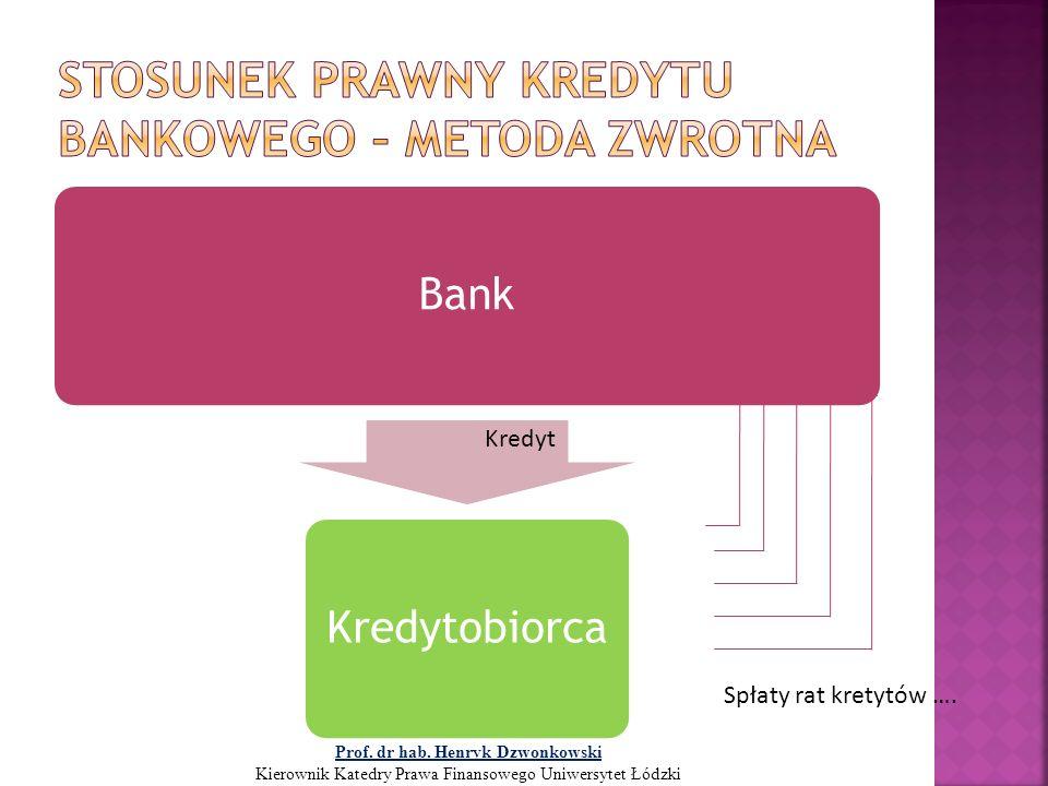 BankKredytobiorca Kredyt Spłaty rat kretytów …. Prof. dr hab. Henryk Dzwonkowski Kierownik Katedry Prawa Finansowego Uniwersytet Łódzki
