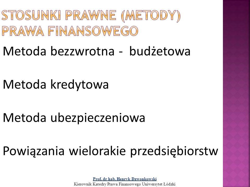 Metoda bezzwrotna - budżetowa Metoda kredytowa Metoda ubezpieczeniowa Powiązania wielorakie przedsiębiorstw Prof. dr hab. Henryk Dzwonkowski Kierownik