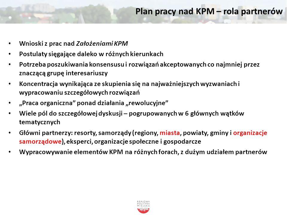 Plan pracy nad KPM – rola partnerów Wnioski z prac nad Założeniami KPM Postulaty sięgające daleko w różnych kierunkach Potrzeba poszukiwania konsensus