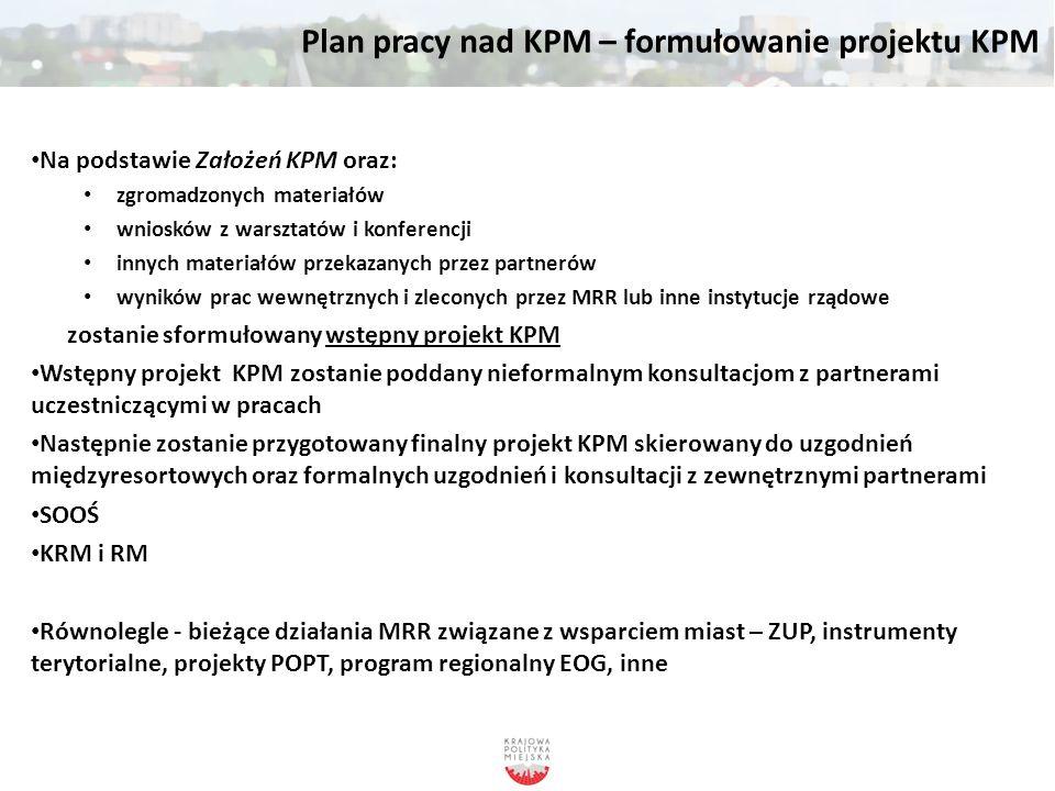 Plan pracy nad KPM – formułowanie projektu KPM Na podstawie Założeń KPM oraz: zgromadzonych materiałów wniosków z warsztatów i konferencji innych mate