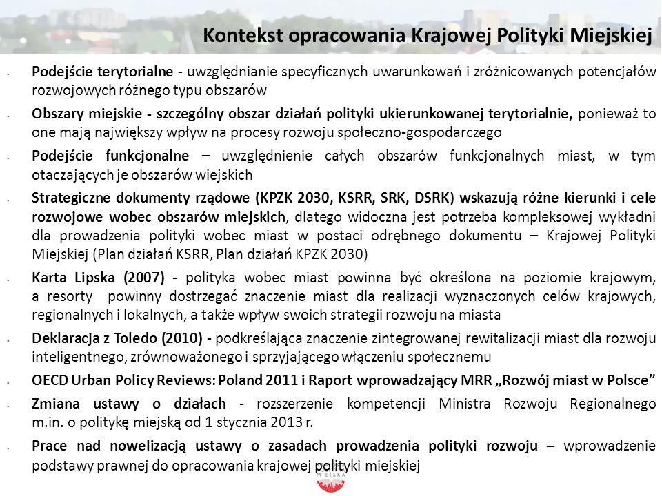 Kontekst opracowania Krajowej Polityki Miejskiej Podejście terytorialne - uwzględnianie specyficznych uwarunkowań i zróżnicowanych potencjałów rozwojo
