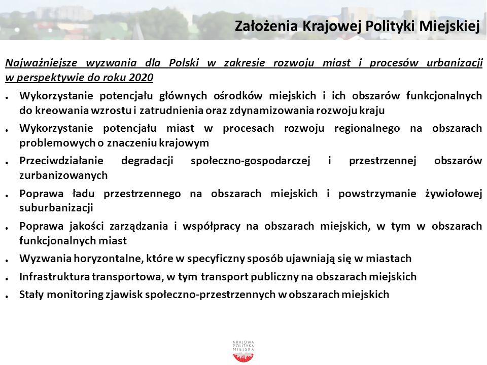 Założenia Krajowej Polityki Miejskiej Najważniejsze wyzwania dla Polski w zakresie rozwoju miast i procesów urbanizacji w perspektywie do roku 2020 ●