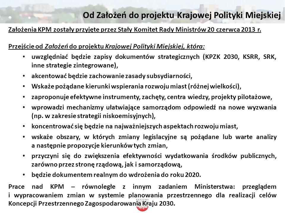 Od Założeń do projektu Krajowej Polityki Miejskiej Założenia KPM zostały przyjęte przez Stały Komitet Rady Ministrów 20 czerwca 2013 r. Przejście od Z