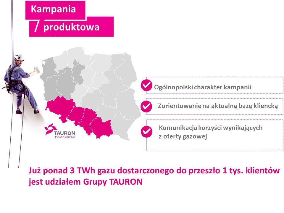 Ogólnopolski charakter kampanii Zorientowanie na aktualną bazę kliencką Komunikacja korzyści wynikających z oferty gazowej Już ponad 3 TWh gazu dostarczonego do przeszło 1 tys.