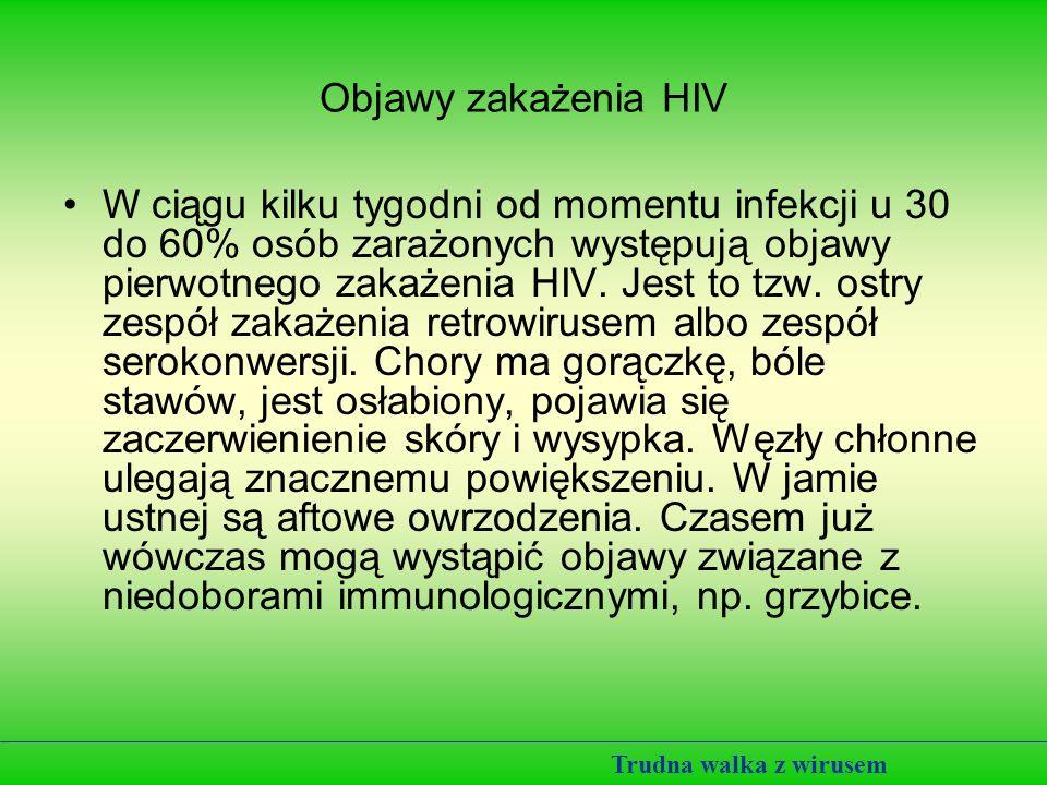 Zakażenia HIV i zachorowania na AIDS odnotowane w roku 2005 wg płci Trudna walka z wirusem