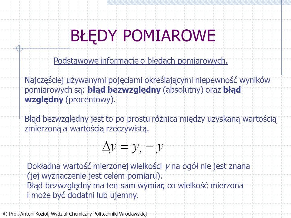 © Prof.Antoni Kozioł, Wydział Chemiczny Politechniki Wrocławskiej To tyle na dzisiaj.