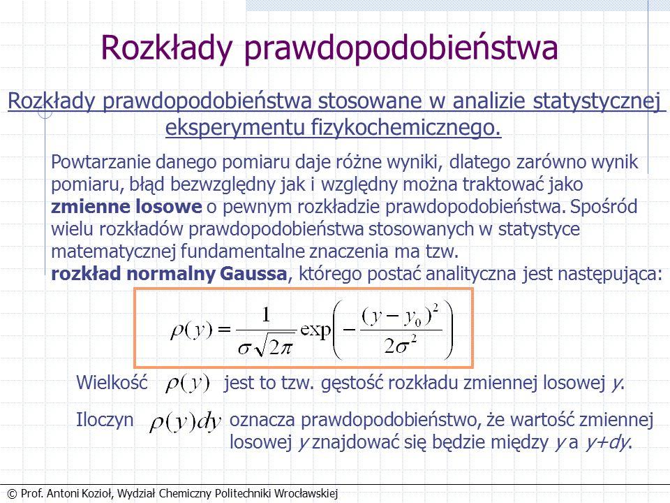 © Prof. Antoni Kozioł, Wydział Chemiczny Politechniki Wrocławskiej Analiza statystyczna pomiarów