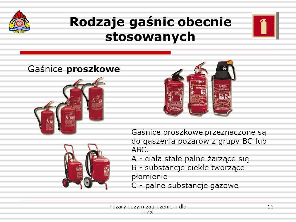 Pożary dużym zagrożeniem dla ludzi 16 Rodzaje gaśnic obecnie stosowanych Gaśnice proszkowe Gaśnice proszkowe przeznaczone są do gaszenia pożarów z gru