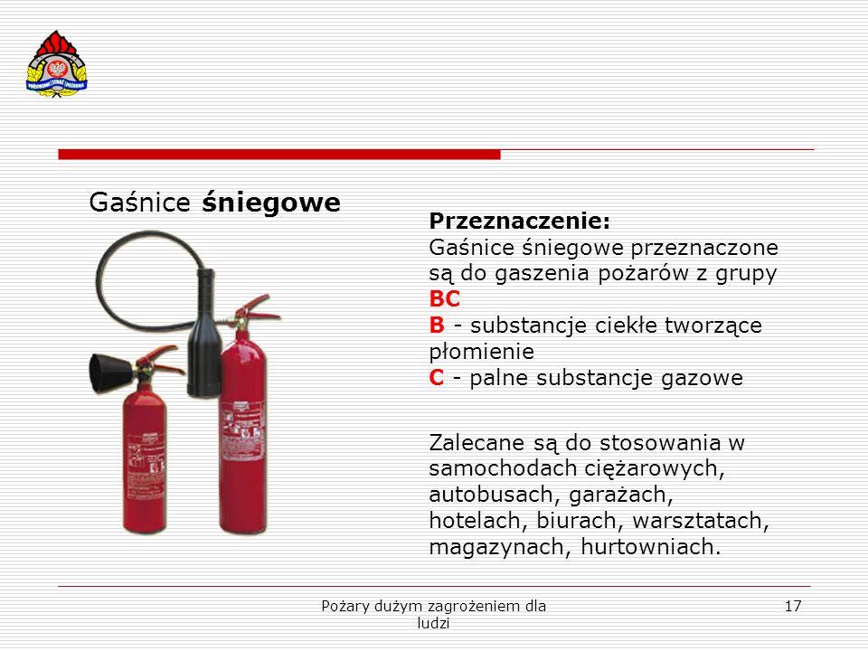 Pożary dużym zagrożeniem dla ludzi 17 Gaśnice śniegowe Przeznaczenie: Gaśnice śniegowe przeznaczone są do gaszenia pożarów z grupy BC B - substancje c