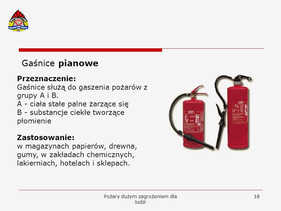 Pożary dużym zagrożeniem dla ludzi 18 Gaśnice pianowe Przeznaczenie: Gaśnice służą do gaszenia pożarów z grupy A i B. A - ciała stałe palne żarzące si