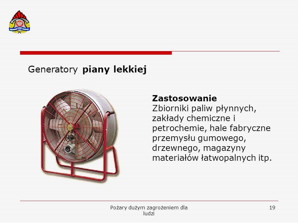 Pożary dużym zagrożeniem dla ludzi 19 Generatory piany lekkiej Zastosowanie Zbiorniki paliw płynnych, zakłady chemiczne i petrochemie, hale fabryczne