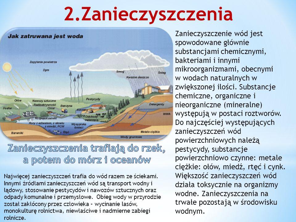 2.Zanieczyszczenia Zanieczyszczenie wód jest spowodowane głównie substancjami chemicznymi, bakteriami i innymi mikroorganizmami, obecnymi w wodach naturalnych w zwiększonej ilości.