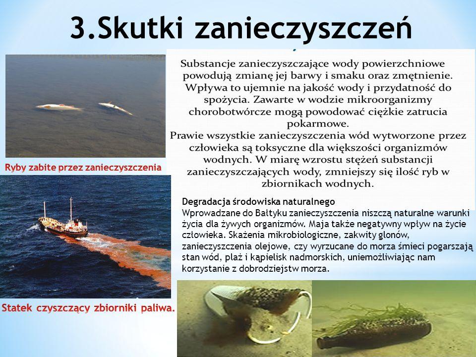 3.Skutki zanieczyszczeń Degradacja środowiska naturalnego Wprowadzane do Bałtyku zanieczyszczenia niszczą naturalne warunki życia dla żywych organizmów.