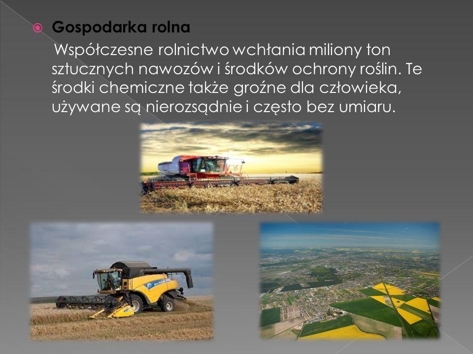 Gospodarka rolna Współczesne rolnictwo wchłania miliony ton sztucznych nawozów i środków ochrony roślin.